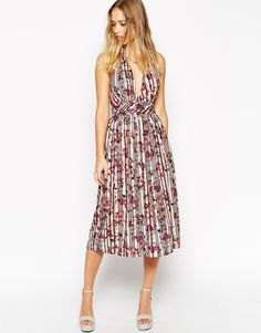 ASOS Pretty Floral Pleated Plunge Dress