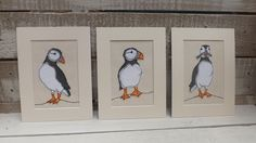 Puffins applique and free motion embroidery from The Dog and the Moon.
