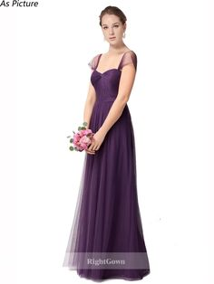 918ae86fd7 A-Line Sweetheart 2018 Long Floor Length Tulle Grape Bridesmaid Dresses Cap  Sleeves 173122