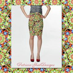 Fitted pencil spandex skirt in Design Confections fun pattern created by Maine artist #PatriciaSheaDesigns #Etsy