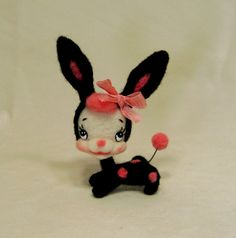 Black Spotted Retro Bunny made to order