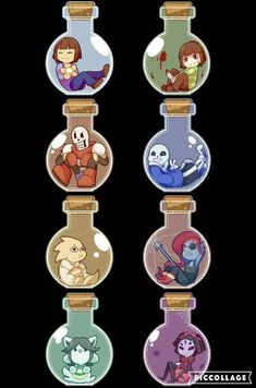 Each character in a bottle If Chara wasn't depicted with blood this would be perfect. Undertale Comic, Flowey Undertale, Sans E Frisk, Undertale Memes, Undertale Drawings, Undertale Fanart, Indie Games, Jhin League Of Legends, Pokemon