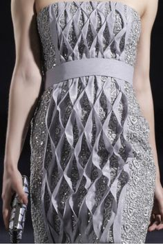 Honeycomb Smocking - smocked dress with an elegant use of fabric manipulation to create 3D patterns & texture; couture sewing
