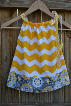 Chevron and Flower Pillowcase Dress for Babies, Children, and Girls by ThreeHSisters, $24.00