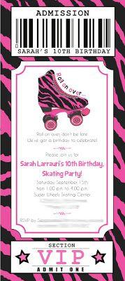 Zebra Print & Roller Skating Party Ticket Invitation - {New to the Shop} Printable DIY Invitation Designs ~ Kroma Design Studio Parties & Events