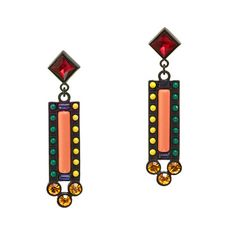 Inspired by vintage estate jewelry, the pieces in Lisa Salzer's Lulu Frost line feature a mash-up of traditional and modern influences that make for retro-chic designs with a twist. The playful colors in these Deco-inspired earrings remind us of toys we played with as kids (remember the light-up box with the colorful pegs?), but delicate crystals make them totally grown-up. <ul><li>Import.</li></ul>