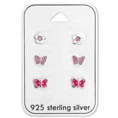 Silver Butterfly Flower Set With Crystal