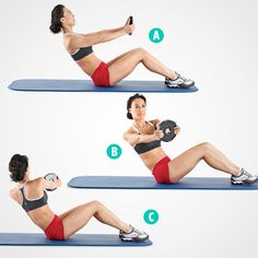 """purrpleivygetsfit: """" Abs Excercise - Weighted Russian Twist With both hands, hold the ends of a dumbbell, the sides of a weight plate, or a medicine ball. Sit on the floor with your knees bent and. Fitness Herausforderungen, Fitness Motivation, Health Fitness, Women's Health, Fitness Plan, Motivation Quotes, Muffin Top Exercises, Slim Waist Workout, Waist Exercise"""