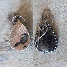 Crow Pendant Black Rutile Dendrite Quartz 925 by MirielDesign