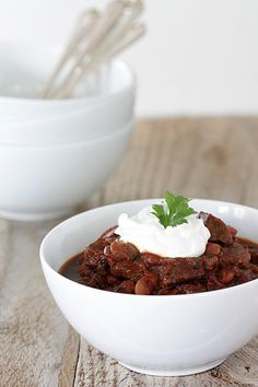another winner from the Fromagette: Bison Chili (in slow cooker, incl overnight soak kidney beans, bison, chocolate/oatmeal stout, chili peppers in adobo, fire roasted toms)