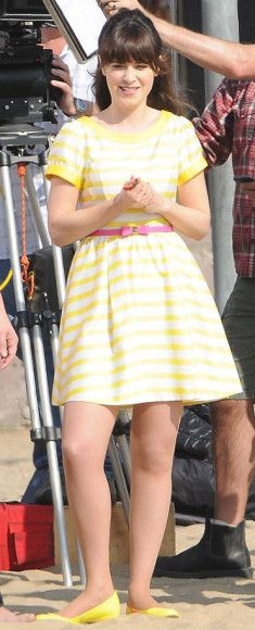 Zooey Deschanel's Yellow striped dress on the set of New Girl.  Outfit Details: http://wwzdw.com/z/4549/ #WWZDW