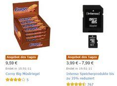 """Amazon: Corny Big Müsliriegel für 9,59 Euro im 24er-Pack https://www.discountfan.de/artikel/essen_und_trinken/amazon-corny-big-muesliriegel-fuer-959-euro-im-24er-pack.php Mit Müsliriegeln möchte Amazon heute bei seinen Kunden punkten: Das 24er-Pack """"Corny Big Müsliriegel"""" ist für 9,59 Euro zu haben, zur Auswahl stehen vier Varianten. Außerdem im Angebot: Intenso-Speicherprodukte und Amazon: Corny Big Müsliriegel für 9,59 Euro im 24er-Pack (Bild: Amazon."""