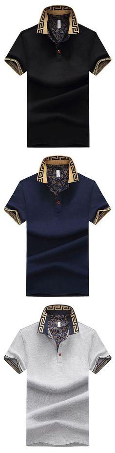 dd47d4ed573 Mens Stylish Polo Shirt Printed Collar Short Sleeve Spring Summer Casual  Tops Printed Polo Shirts