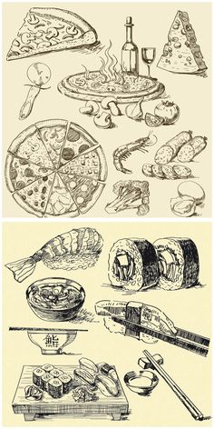 Pizza and sushi vintage illustrations vector. 2 sets with different vector pizza and sushi vintage illustrations (hand drawn). Clipart set includes: vector pizza, pizza slice, salami, rolls, sushi set, misu, etc. Format: EPS stock vector clip art. Free for download.…