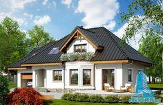 Проект жилого дома с мансардой и гаражом   Proiectari si Constructii Tiny House Design, Design Case, Log Homes, Home Fashion, Beautiful Homes, Cabin, Interior Design, House Styles, Modern Houses
