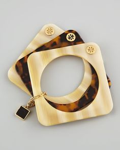 Tory Burch Tomi Resin Stacking Bangles, Horn/Tortoise - Neiman Marcus
