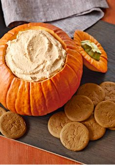 Pumpkin Fluff Dip — Dip into dessert with cookies or crackers and scoop up a taste of our fluffy pumpkin dip. The recipe is perfect for Halloween—or anytime, really!
