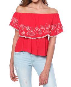 Flamenco Ruffle Top - Red Print - Piin | ShopPiin.com #festival #cochella