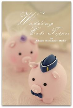 lovely pig and piggy Wedding Cake Topper by kikuike on Etsy,