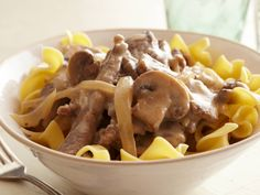 Beef Stroganoff Recipe : Paula Deen : Food Network - FoodNetwork.com  I used plain greek yogurt instead of sour cream.  Would use slightly less beef broth next time but the seasoning makes the meat!!