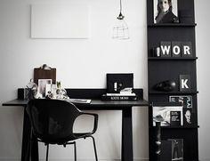 Gorgeous Black & White Office #home #decor