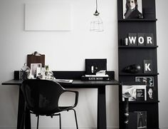Gorgeous Black & White Office #home #decor