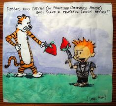 "Hobbes and Calvin (in frontline commando armor) say: ""Have a peaceful lunch Archer!"" (Love, Mom) // Daily Napkins: Creative Pop-Culture Napkins Drawn by Nina Levy"