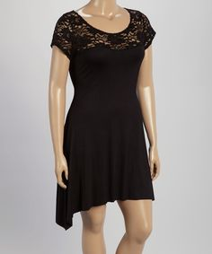 Loving this Black Lace Sidetail Dress - Plus on #zulily! #zulilyfinds