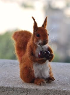Needle Felted  Wool Animals-Red squirrel- Soft sculpture-Collectible artist animals-needle felt by Daria LvovskyMade to custom orders