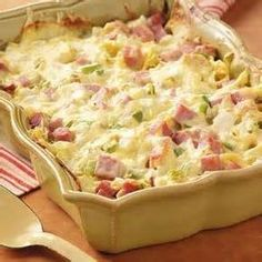 """Ham and Swiss Casserole Recipe- Recipes """"When I prepare this noodle casserole for church gatherings, it's always a hit,"""" writes Doris Barb from El Dorado, Kansas. """"It can easily be doubled or tripled for a crowd. Ham Casserole, Casserole Dishes, Casserole Recipes, Ham And Noodle Casserole, Cauliflower Casserole, Broccoli Casserole, Linguine, Pork Recipes, Cooking Recipes"""