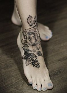 Black Rose tattoo on foot