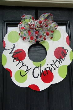CHRISTMAS Holiday Painted Wooden Wreath. $50.00, via Etsy.