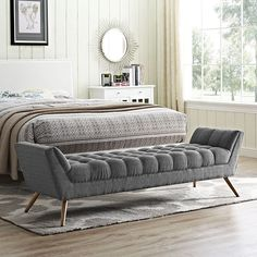 Response Fabric Bench, Gray - Embrace leisure time with the artfully designed Response Collection. Exquisitely crafted with tufted seat and back, gently sloping arms, and adorable design, Response comes well-loved for all the right reasons. Dense foam padding ensures comfort, while the well-orchestrated style will energize your space. Tapered wood legs with non-marketing foot caps finish off this piece of distinctinction and estimable appeal. Set Includes: One - Response Bench. Material…