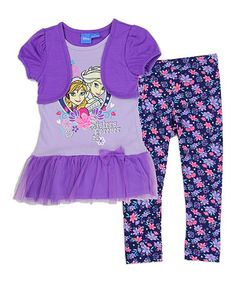 Look at this #zulilyfind! Frozen Purple Tee & Leggings - Toddler #zulilyfinds