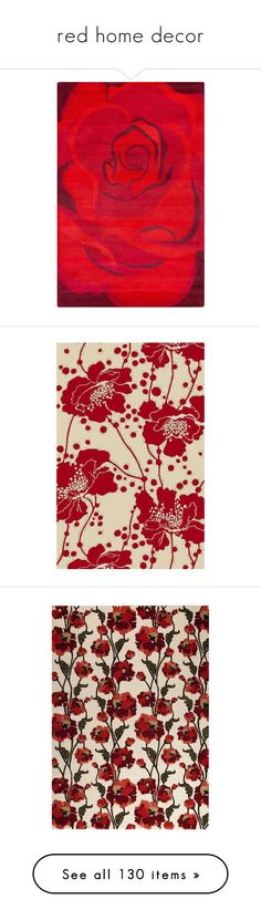 """""""red home decor"""" by crystalliora ❤ liked on Polyvore featuring scarlet, reddecor, redlamp, redrug, home, rugs, flower stem, handmade rugs, red flower rug and bright red area rug"""