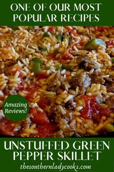 My family loves this unstuffed green pepper skillet meal! I added an Italian twist by using Italian Sausage and Italian diced tomatoes. Easy Skillet Dinner, Easy Skillet Meals, Easy Meals, Skillet Recipes, Unstuffed Pepper Casserole, Unstuffed Peppers, Casserole Recipes, Meat Recipes, Cooking Recipes