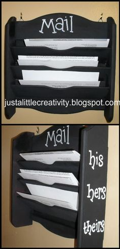 """Mail Holder - i like the separate """"his"""" and """"hers"""" so I won't get blamed when he doesn't look at his mail and a bill is late!"""
