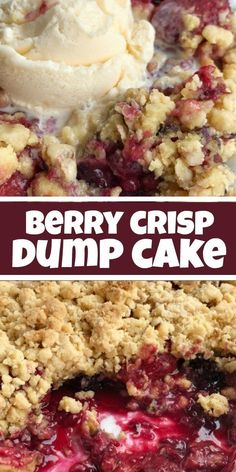 Berry Crisp Dump Cake | Dump Cake | Berry crisp dump cake is only 5 ingredients and one pan! Juicy mixed berries covered in an easy cake mix, oatmeal, walnuts, and melted butter mixture. Serve warm with a scoop of vanilla ice cream for a delicious dessert. #dessertrecipes #dumpcake #cakemix #recipeoftheday #cake #dessert