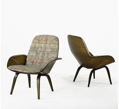 George Mulhauser for Plycraft; pair of lounge chairs, circa 1950s; walnut laminate and upholstery