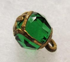 Incredible RARE Antique 19th C GLASS Charmstring BUTTON Emerald w/ 4 Leaf Clover in Antiques, Sewing (Pre-1930), Buttons | eBay