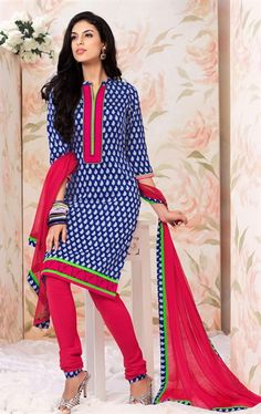 Picture of Awesome Blue and off White Party Wear Salwar Suit