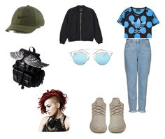 """""""outfit #171"""" by anaguilhermep98 on Polyvore featuring Topshop, adidas Originals, Monki, NIKE, Christian Dior, denim, adidas, casualoutfit, nike and Yeezy"""