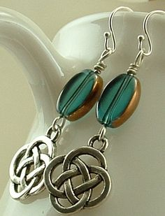 Blue Glass Earrings Emerald Blue Glass and by hazaricreations, $18.00