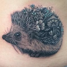 Floral Hedgehog by Noel Michel at Lucky 13 Tattoo in Mooresville NC.