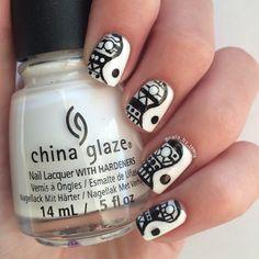 Aztec ying yang nails