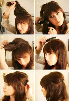 Half down backcombed hairstyle for middle hair. If you are in a hurry, yet want to look good, this hairstyle is just for you. It requires not more than 15-20 minute. Though a little bit retro looking and resembles 60`s hairstyles due to backcomb techniques, but extremely feminine and flattering.
