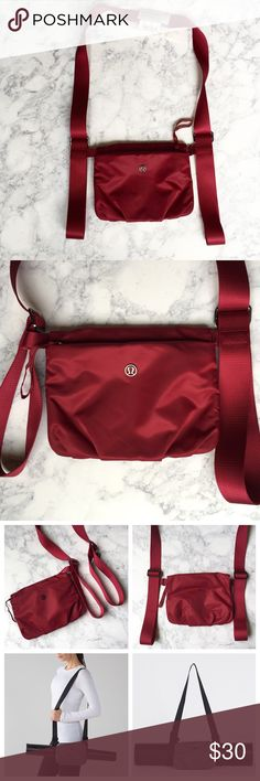 """NEW, RARE Lululemon yoga mat bag New with tag, Lululemon essential mat carrier. I have way too many yoga bags! Love this super compact & organized carrier! -  Beautiful, rich burgundy/ red -  Removable zippered pouch; quick access to keys, phone, wallet & items  -  One-shoulder or cross body style, Lululemon embossed metal  -  Slider closure adjusts to fit any mat -  Durable webbing, nylon material  -  Pouch 8.5""""x6"""" -  Smoke free/ pet free home  -  Purchased from official Lululemon  -  Pic…"""