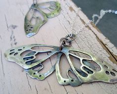 butterfly wing pendant artigiano resting by ArtigianoJewelBox, $219.00