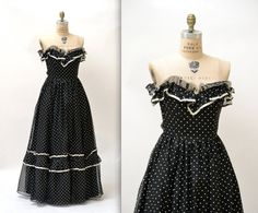 80s Vintage Black Strapless Party Prom Dress// Vintage Evening Gown Black and White Polka Dot Size Small By Gunnie Gunne Sax