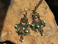 Boho  Beauty  Antique Brass Amber and Turquoise    by fleurdesignz, $18.00